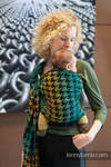 Ringsling, Jacquard Weave (100% cotton), with gathered shoulder - PEPITKA GREEN & YELLOW - long 2.1m