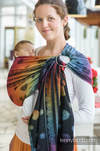 Ringsling, Jacquard Weave (100% cotton), with gathered shoulder - RAINBOW LACE DARK - standard 1.8m