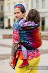 Żakardowa chusta do noszenia dzieci, bawełna - SYMFONIA TĘCZOWA DARK- rozmiar XS