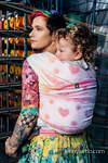 Żakardowa chusta do noszenia dzieci, bawełna - TĘCZOWA KORONKA - rozmiar XS