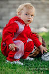 Fleece Babyanzug - Größe 68 - rot mit Little Herringbone Elegance
