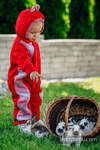Bear Romper - size 80 - red with Little Herringbone Elegance (grade B)