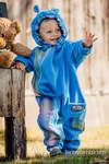 Fleece Babyanzug - Größe 68 - türkis mit Little Herringbone Petrea