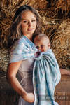 Ringsling, Jacquard Weave (100% cotton) - PAINTED FEATHERS WHITE & TURQUOISE