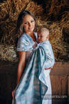 Ringsling, Jacquard Weave (100% cotton) - with gathered shoulder - PAINTED FEATHERS WHITE & TURQUOISE