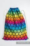 Sackpack made of wrap fabric (100% cotton) - RAINBOW STARS DARK - standard size 32cmx43cm
