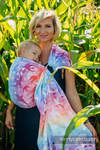 Ringsling, Jacquard Weave (100% cotton) - with gathered shoulder - SWALLOWS RAINBOW LIGHT - long 2.1m