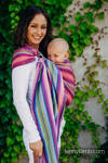 Ringsling, Herringbone Weave (100% cotton) - with gathered shoulder - LITTLE HERRINGBONE RASPBERRY GARDEN