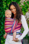 Baby Wrap, Herringbone Weave (100% cotton) - LITTLE HERRINGBONE RASPBERRY GARDEN - size XL