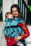 WRAP-TAI carrier Mini with hood/ jacquard twill / 100% cotton / GALLOP BLACK & TURQUOISE