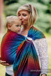 Ringsling, Jacquard Weave (100% cotton) with gathered shoulder - BIG LOVE RAINBOW DARK - long 2.1m
