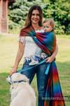 Żakardowa chusta do noszenia dzieci, bawełna - BIG  LOVE TĘCZA DARK - rozmiar M
