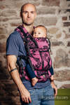 LennyUp Carrier, Standard Size, jacquard weave 100% cotton - TIME BLACK & PINK (with skull)