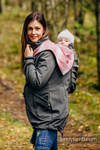 Babywearing Coat - Softshell - Charcoal with Little Herringbone Elegance - size XXL