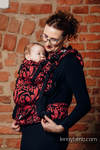 LennyUp Carrier, Standard Size, jacquard weave, 60% cotton, 28% linen 12% tussah silk - TWISTED LEAVES - PINCH OF CHILLI