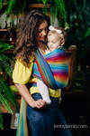 Baby Wrap, Herringbone Weave (100% cotton) - LITTLE HERRINGBONE RAINBOW NAVY BLUE - size S (grade B)