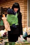 Baby Wrap, Jacquard Weave (60% cotton, 40% bamboo) - Cats Black&Green - size L (grade B)