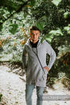 Asymmetrical Hoodie - Grey Melange with Colorful Wind - size 3XL