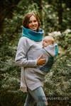 Babywearing Sweatshirt 3.0 - Grey Melange with Peacock's Tail Fantasy - size M