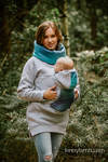 Babywearing Sweatshirt 3.0 - Grey Melange with Peacock's Tail Fantasy - size 6XL