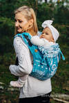 Lenny Buckle Onbuhimo baby carrier, Toddler size, jacquard weave (51% cotton, 30% merino wool, 10% silk, 5% cashmere, 4% metallised yarn) - SYMPHONY - ICY