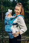 LennyGo Ergonomic Carrier, Baby Size, jacquard weave (51% cotton, 30% merino wool, 10% silk, 5% cashmere, 4% metallised yarn) - SYMPHONY - ICY