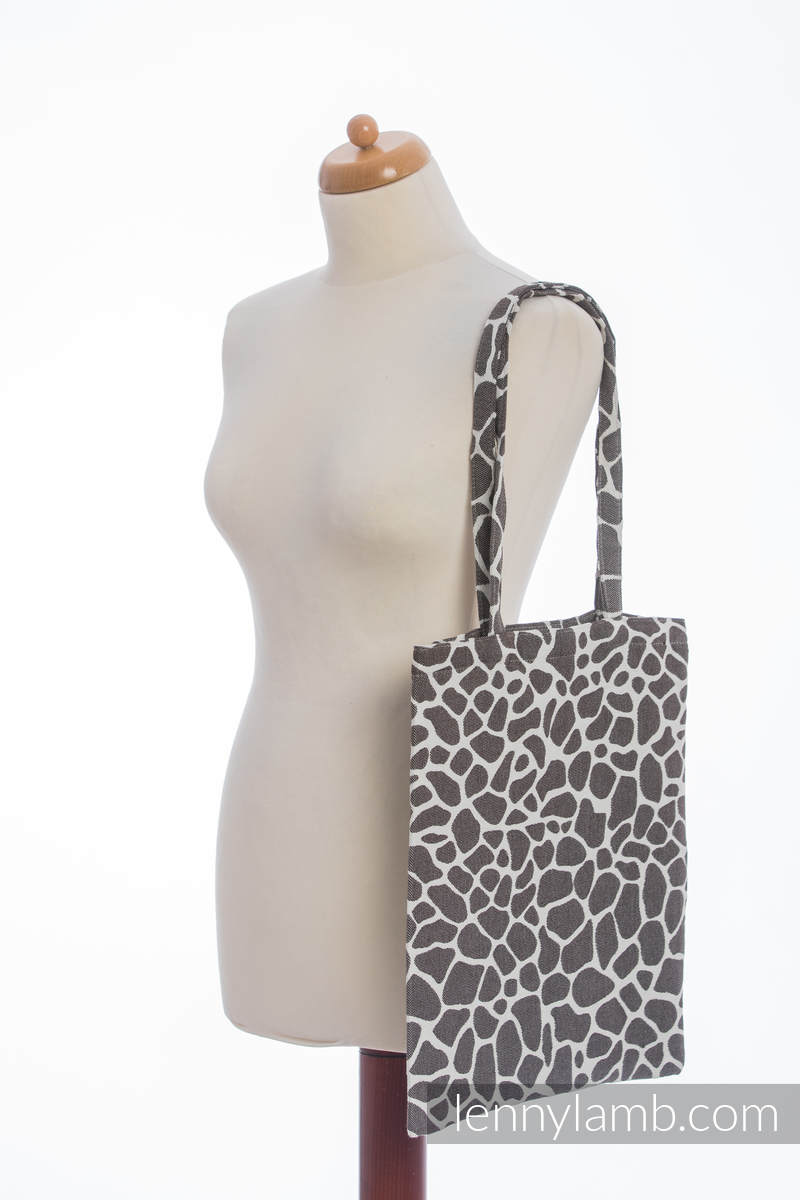 einkaufstasche hergestellt aus gewebtem stoff 100 baumwolle giraffe dunkelbraun creme. Black Bedroom Furniture Sets. Home Design Ideas