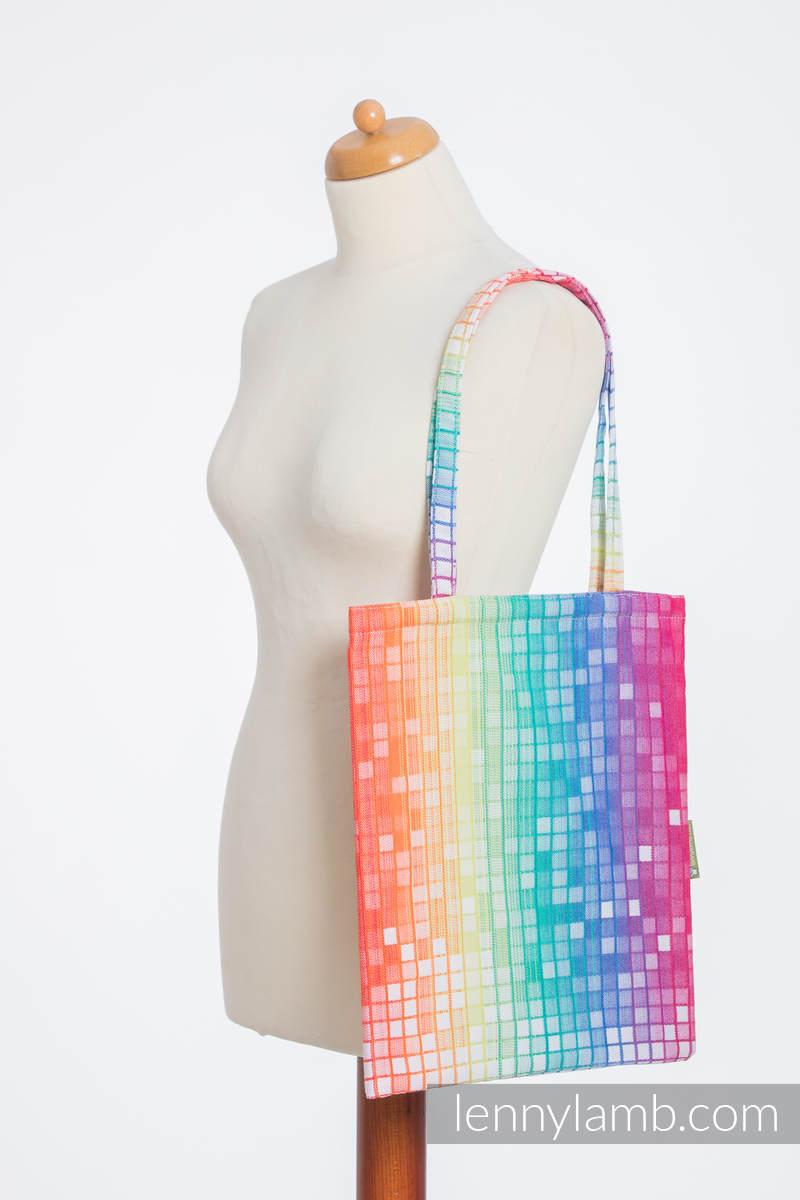 einkaufstasche hergestellt aus gewebtem stoff 100 baumwolle mosaic rainbow grad b. Black Bedroom Furniture Sets. Home Design Ideas