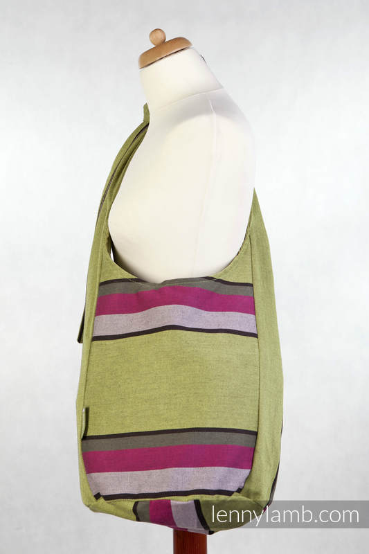 Hobo Bag made of woven fabric, 100% cotton  - LIME & KHAKI #babywearing