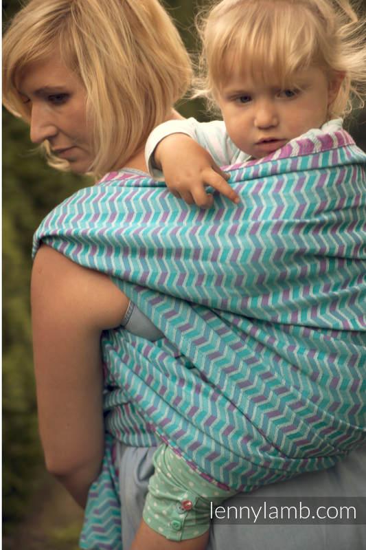 Baby Wrap, Jacquard Weave (100% cotton) - ZigZag Turquoise & Pink  - size S (grade B) #babywearing