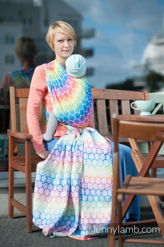 Baby Wrap, Jacquard Weave (100% cotton) - Rainbow Stars - size XS (grade B) #babywearing