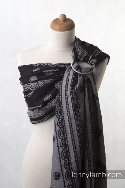 Ringsling, Jacquard Weave (100% cotton), with gathered shoulder - Glamorous Lace - long 2.1m #babywearing