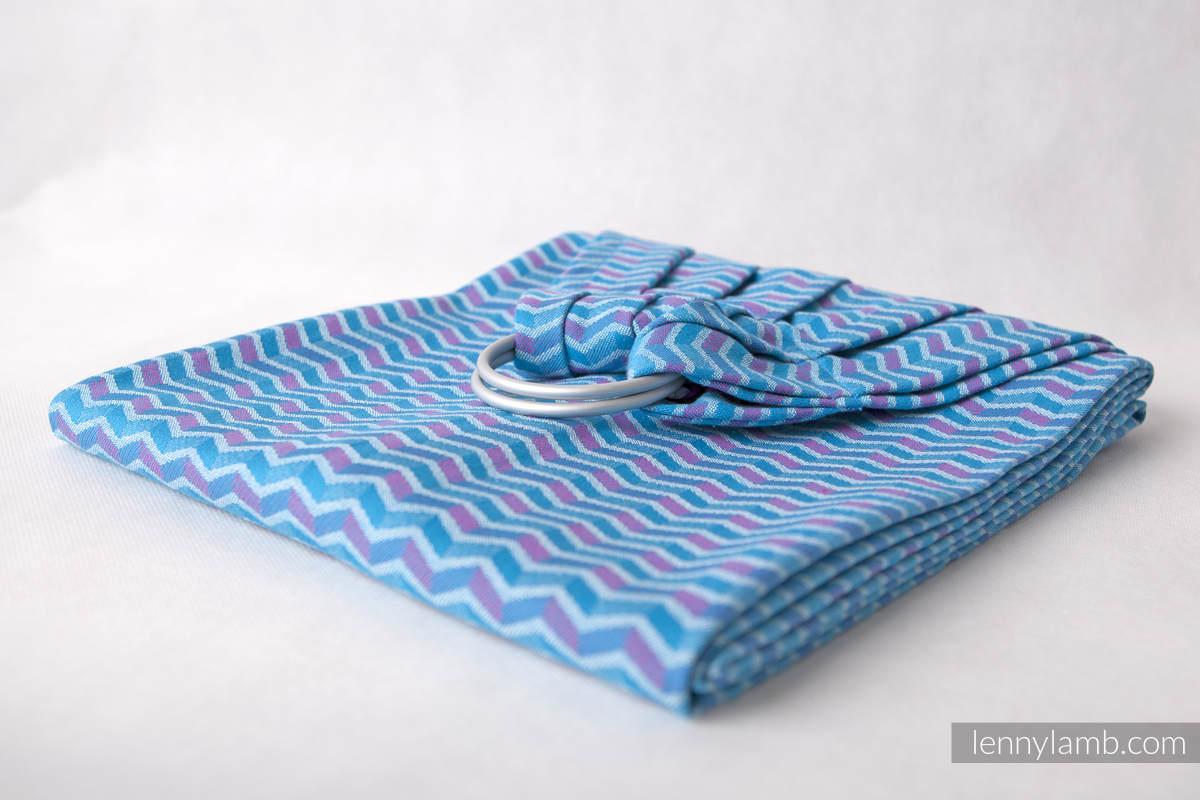 Żakardowa chusta kółkowa do noszenia dzieci, bawełna - ZigZag Turkus z Różem - long 2.1m #babywearing
