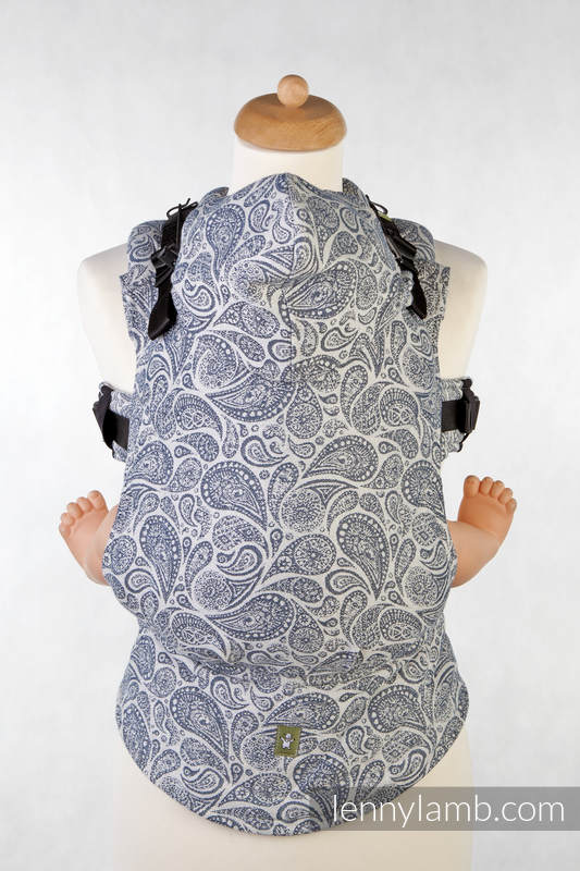 Ergonomic Carrier, Toddler Size, jacquard weave 100% cotton - PAISLEY NAVY BLUE & CREAM, Second Generation #babywearing