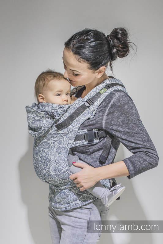 Ergonomic Carrier, Baby Size, jacquard weave 100% cotton - PAISLEY NAVY BLUE & CREAM, Second Generation #babywearing