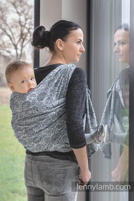 Żakardowa chusta do noszenia dzieci, 100% bawełna - PAISLEY GRANAT z KREMEM - rozmiar L #babywearing