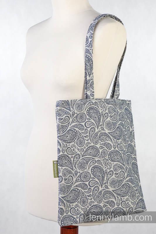 Bolsa de la compra hecho de tejido de fular (100% algodón) - PAISLEY AZUL MARINO & CREMA (grado B) #babywearing