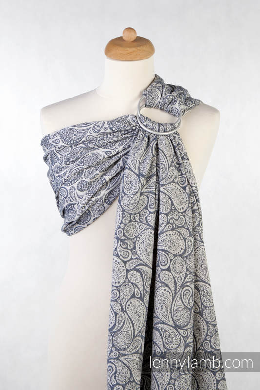Ringsling, Jacquard Weave (100% cotton), with gathered shoulder - Paisley Navy Blue & Cream - long 2.1m (grade B) #babywearing