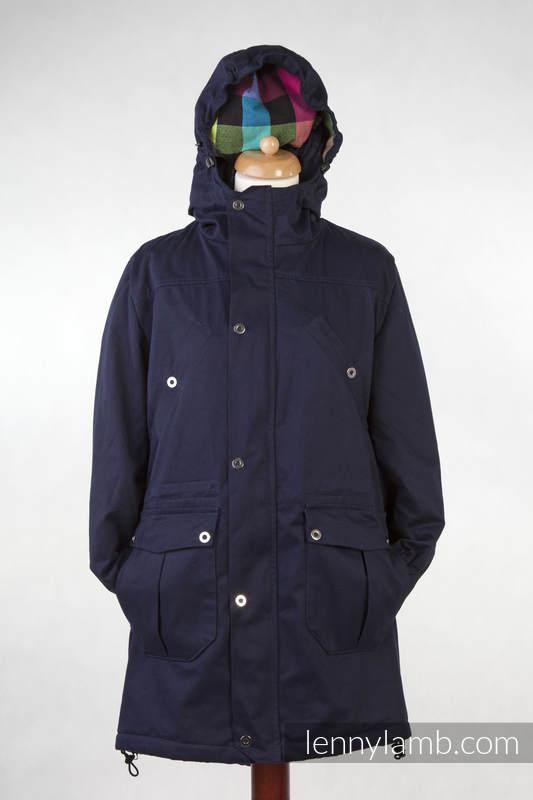 Kurtka do noszenia - Parka - Granatowa z Diamentową Kratą - rozmiar M #babywearing