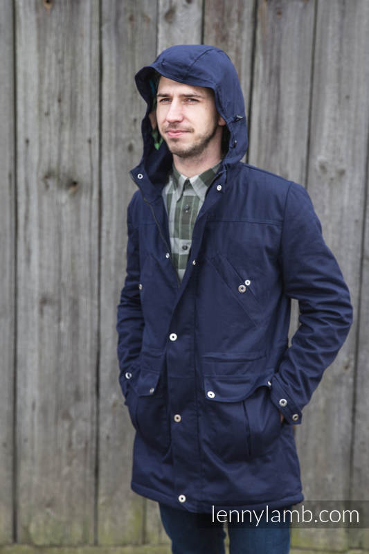 Parka Coat - size L - Navy Blue & Diamond Plaid #babywearing