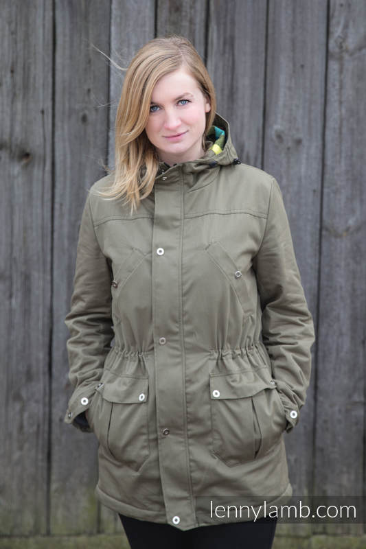 Parka Coat - size L - Khaki & Diamond Plaid #babywearing