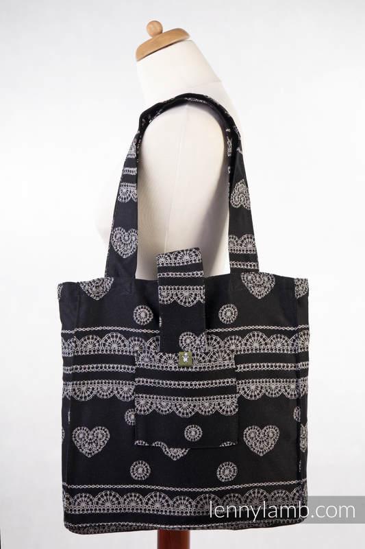 Torba na ramię z materiału chustowego, (100% bawełna) - KORONKA GLAMOUR - uniwersalny rozmiar 37cmx37cm #babywearing