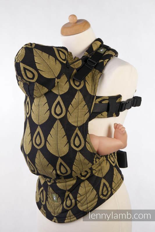 Mochila ergonómica, talla bebé, jacquard 100% algodón - NORTHERN LEAVES NEGRO & AMARILLO - Segunda generación #babywearing