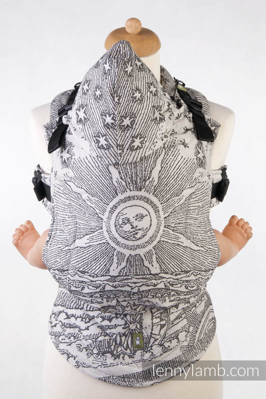 Ergonomic Carrier, Toddler Size, jacquard weave 100% cotton - HORIZON'S VERGE BLACK & CREAM - Second Generation #babywearing