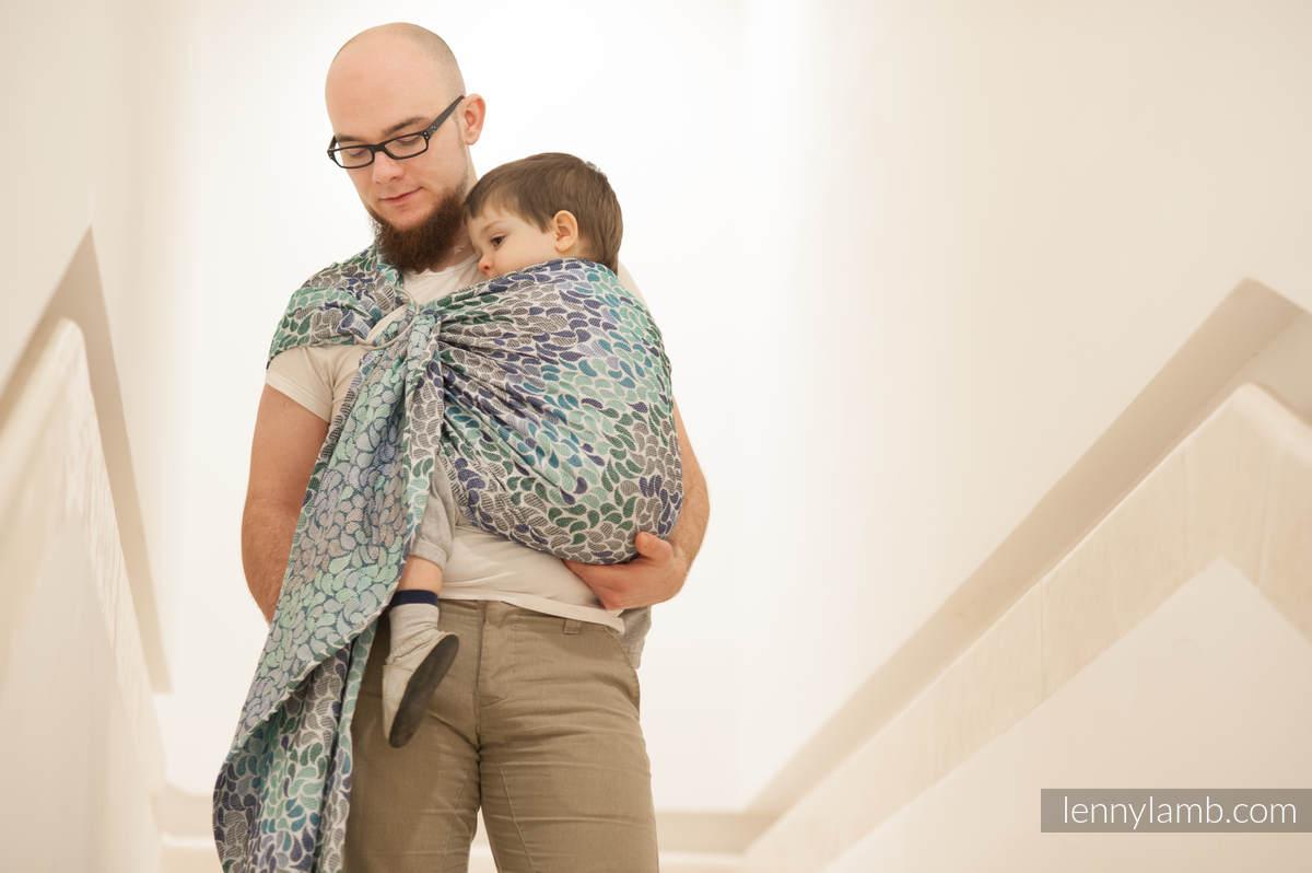 Żakardowa chusta kółkowa do noszenia dzieci, bawełna - KOLORY NIEBA #babywearing