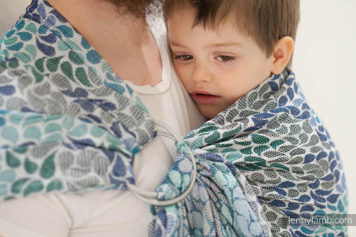 Żakardowa chusta kółkowa do noszenia dzieci, bawełna - KOLORY NIEBA - long 2.1m #babywearing