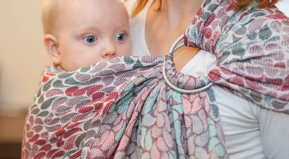 Ringsling, Jacquard Weave (100% cotton) - with gathered shoulder - COLORS OF FRIENDSHIP - long 2.1m #babywearing