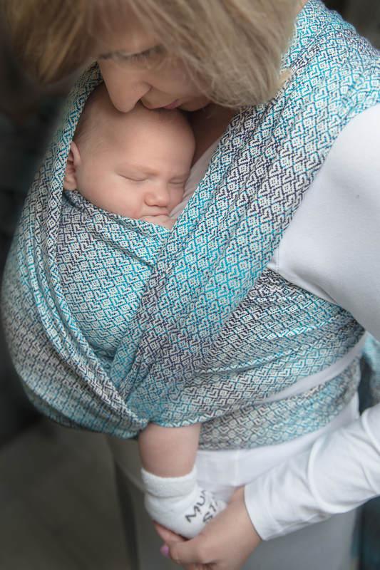 Żakardowa chusta do noszenia dzieci, bawełna - LITTLE LOVE - BRYZA - rozmiar M #babywearing