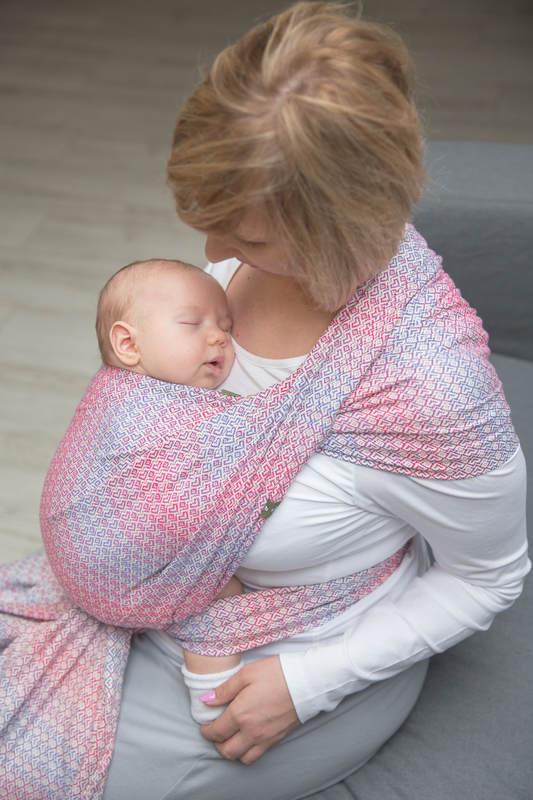 Baby Wrap, Jacquard Weave (100% cotton) - LITTLE LOVE - HAZE - size XS #babywearing