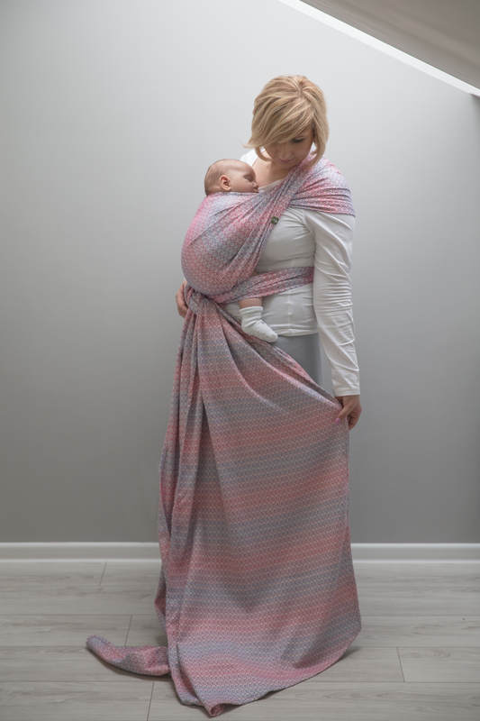 Baby Wrap, Jacquard Weave (100% cotton) - LITTLE LOVE - HAZE - size XS #babywearing